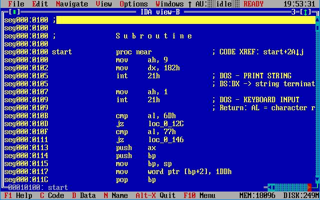 Отладчики и дизассемблеры для dos - дизассемблер IDA.