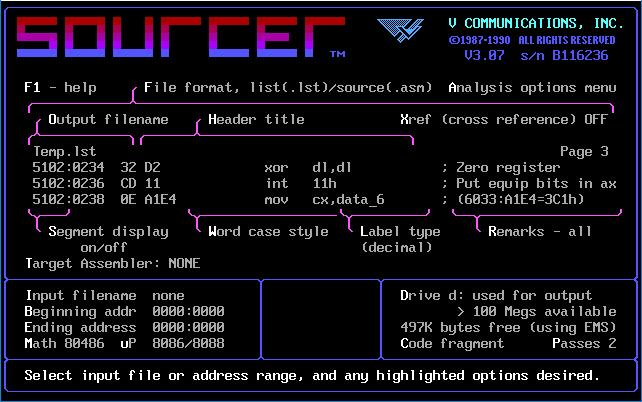 Отладчики и дизассемблеры DOS - Sourcer.