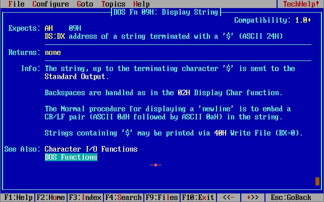 Параметры функции MS DOS - прерывания.
