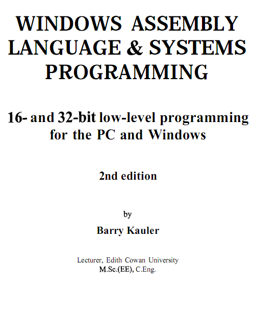 Windows Assembly Language & Systems Programming Barry Kauler - скачать.